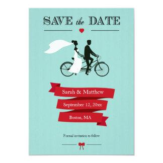 タンデム自転車の保存日付カード カード