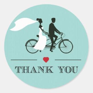 タンデム自転車の水の結婚式はステッカー感謝していしています ラウンドシール