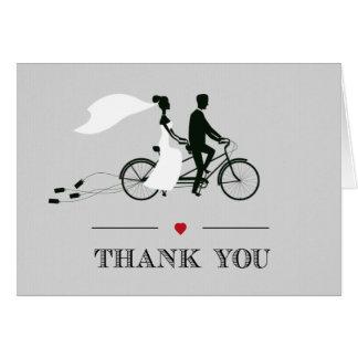 タンデム自転車の灰色の結婚式は感謝していしています カード