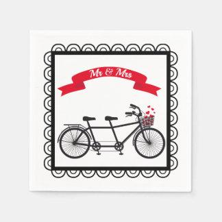 タンデム自転車の結婚式のナプキン スタンダードカクテルナプキン