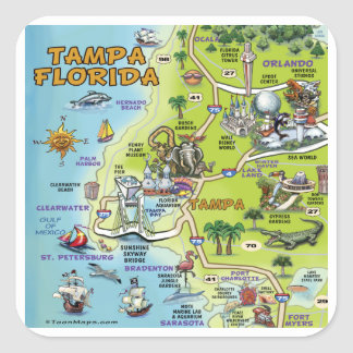 タンパフロリダの漫画の地図 スクエアシール