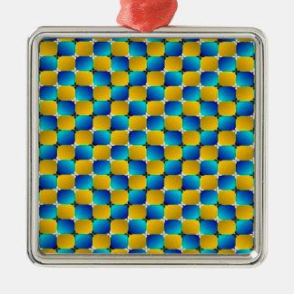 タンブラー#3の目の錯覚の歪む青か黄色 シルバーカラー正方形オーナメント