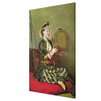 タンブリンを持つトルコの女性 キャンバスプリント