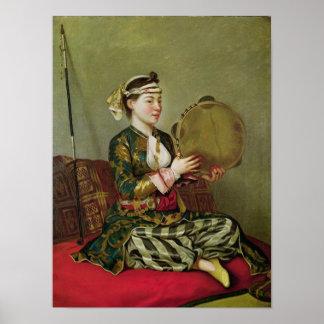 タンブリンを持つトルコの女性 ポスター