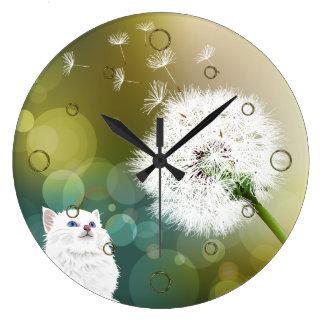 タンポポおよび猫の柱時計 ラージ壁時計