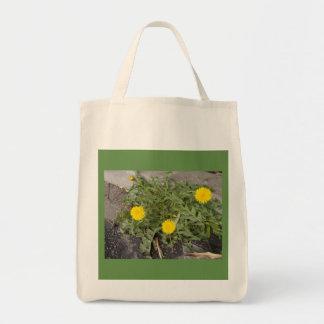 タンポポが付いている100%年綿の買い物袋(戦闘状況表示板)の トートバッグ