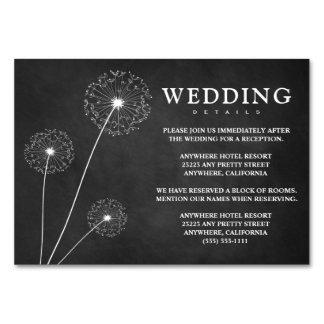 タンポポのチョークの結婚披露宴 + ホテルカード カード