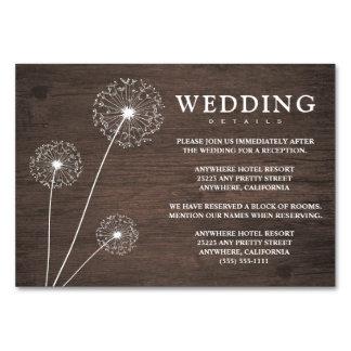 タンポポの木製の結婚披露宴 + ホテルカード カード