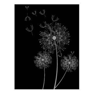 タンポポの白黒モダンな花の芸術 ポストカード