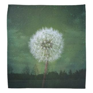 タンポポの花の綿毛の星明かりの空の芸術 バンダナ