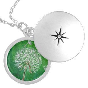 タンポポの願い、銀製のロケットのネックレス シルバープレートネックレス