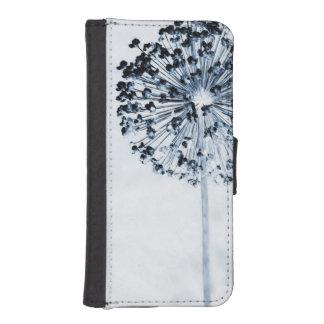 タンポポはシックで青くカスタムな花柄を望みます iPhoneSE/5/5sウォレットケース
