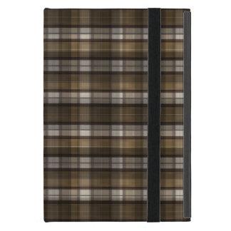 タン及びブラウンの格子縞 iPad MINI ケース