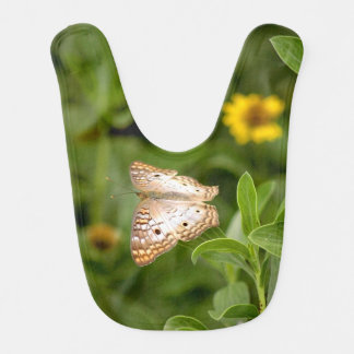 タン及び白い蝶ベビー用ビブ ベビービブ