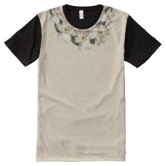 タン及び黒のXXLのセピア色のマグノリアのアクセントつば オールオーバープリントT シャツ