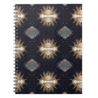 タン情報通の灰色の黒くモダンなパターン ノートブック