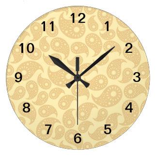 タン色ペーズリー ラージ壁時計