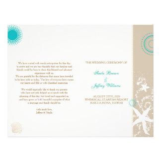 タン|象牙色|ティール(緑がかった色)|ビーチ|結婚|プログラム|(BiFold) チラシ広告デザイン