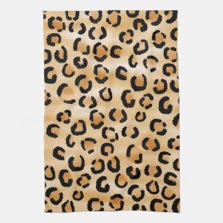 タン、黒およびブラウンのヒョウのプリントパターン キッチンタオル