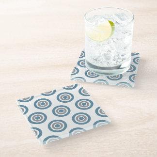 ターゲットパターン灰色の青く白いガラスコースター ガラスコースター