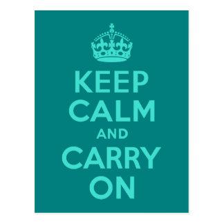 ターコイズおよびティール(緑がかった色)のKeep Calm and Carry On ポストカード