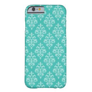 ターコイズおよび水のダマスク織パターンiPhone6ケース Barely There iPhone 6 ケース