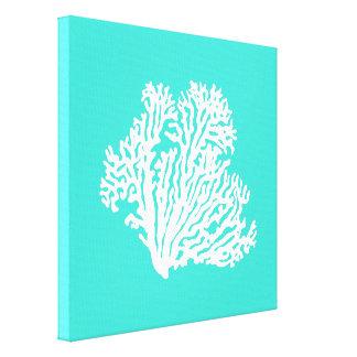 ターコイズおよび白い沿岸装飾の珊瑚 キャンバスプリント