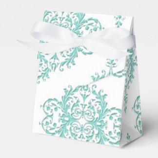 ターコイズおよび白のファンシーな花のダマスク織パターン フェイバーボックス