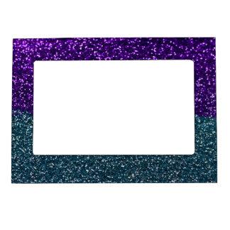 ターコイズおよび紫色のグリッターの輝き マグネットフレーム