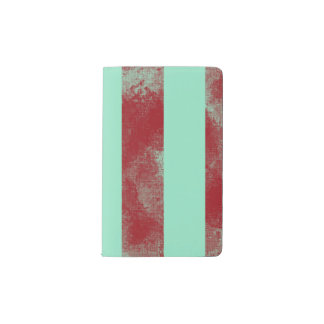 ターコイズおよび赤のストライプ ポケットMoleskineノートブック