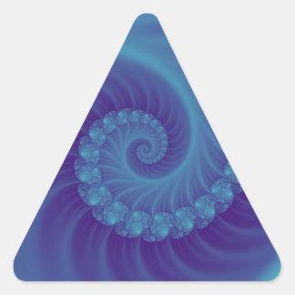 ターコイズおよび青い化石のefffect 3Dのフラクタル 三角形シール