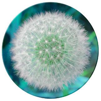 ターコイズおよび青のタンポポの花の時計 磁器プレート