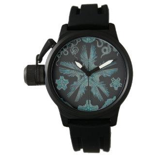 ターコイズおよび黒のOphiodea 腕時計