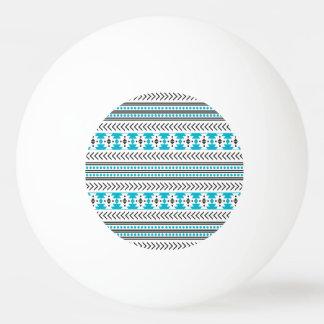 ターコイズのアステカな種族のプリントの幾何学的なパターン 卓球ボール