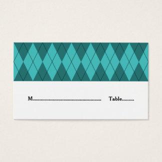 ターコイズのアーガイル柄のな結婚式の座席表 名刺
