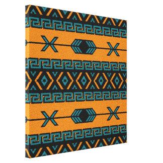 ターコイズのオレンジアステカなパターン南西壁の芸術 キャンバスプリント