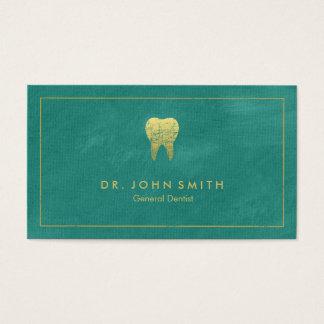 ターコイズのキャンバスの金フレーム及び歯-歯科医 名刺