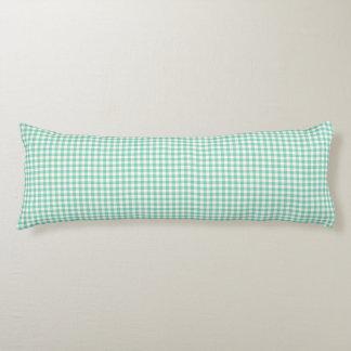 ターコイズのギンガムパターン抱き枕 ボディピロー