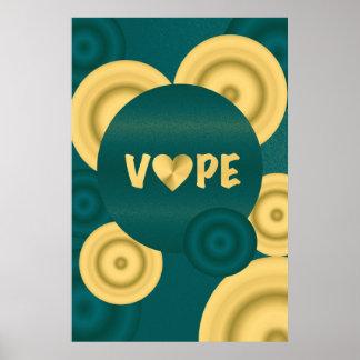 ターコイズのクリーム色のVapeのハート ポスター