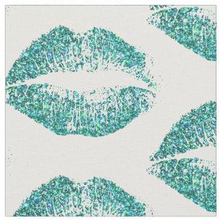 ターコイズのグリッターの唇 ファブリック