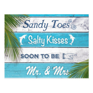 ターコイズのサンディのつま先の塩辛いキスは日付を救います ポストカード