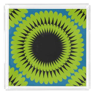 ターコイズのシックなアクリルTRAY_の緑の花 アクリルトレー