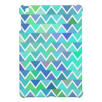 ターコイズのジグザグパターン iPad MINI カバー