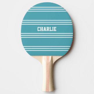 ターコイズのストライプでカスタムなモノグラムのかい 卓球ラケット