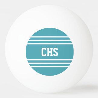 ターコイズのストライプでカスタムなモノグラムの球 卓球ボール