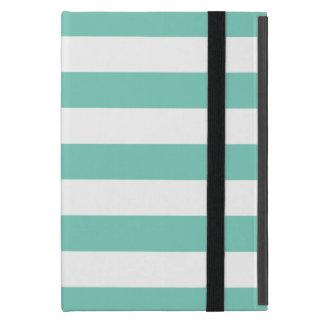 ターコイズのストライプなパターン iPad MINI ケース