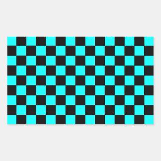 ターコイズのティール(緑がかった色)のチェッカーボードのチェス盤のステッカー1 長方形シール