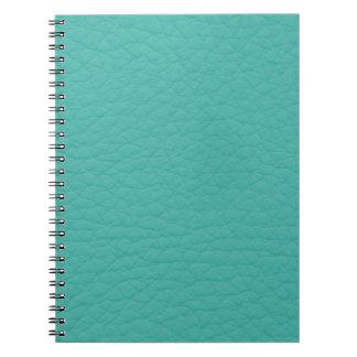ターコイズのティール(緑がかった色)のレトロの粋でカスタムな革 ノートブック