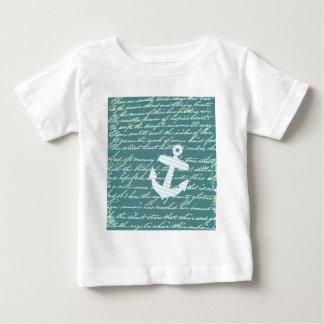 ターコイズのティール(緑がかった色)の航海のないかり ベビーTシャツ