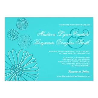 ターコイズのティール(緑がかった色)の青い花の芸術の結婚式招待状 カード